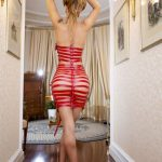 beautiful ts cam girl in see-through red dress